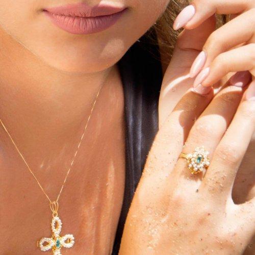 Croce perle topazio - Anello perle