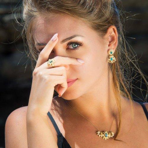 centrale perle topazio - anello perle topazio - orecchini pendenti perle topazio