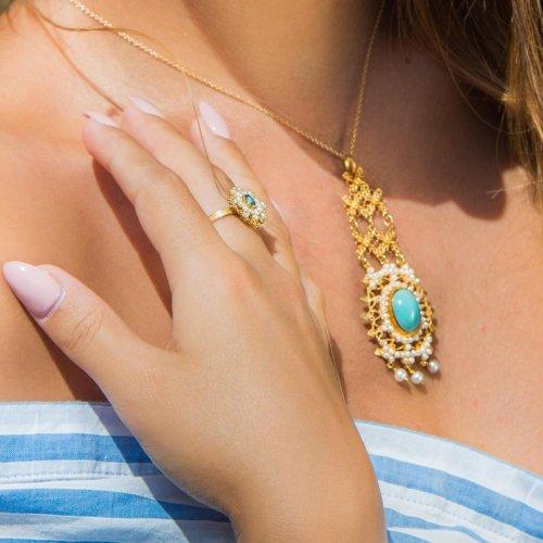 pendente rosette turchese - anello perle topazio