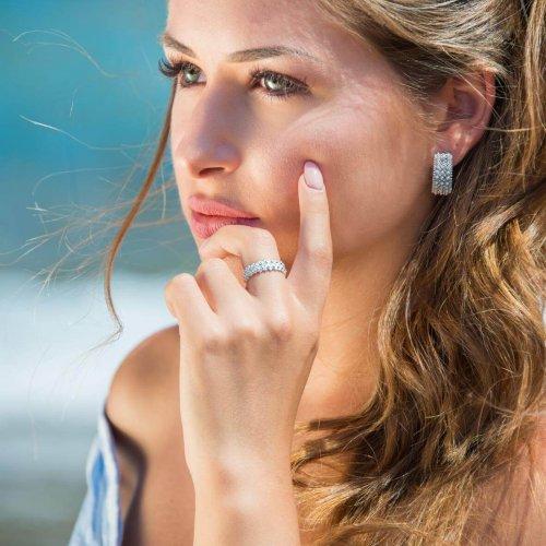 anello 2 file giro argento - orecchino 3 file giro oro bianco
